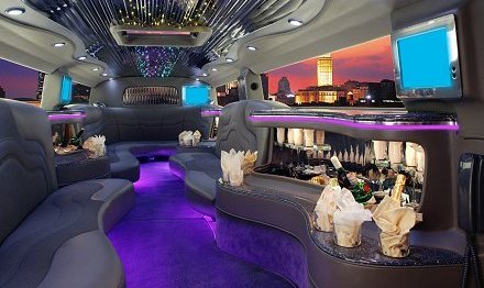 Limos for Hire -  interior of Hummer H2 Limo for hire London